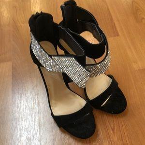 "Liliana high heels (4.5"") with zipper back, black"